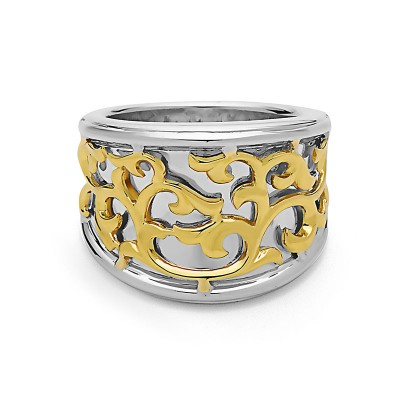 Sterling Silver Ivy Lace Concave Saddle Ring