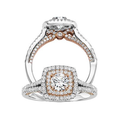 Ladies Round Double Halo Eng Ring