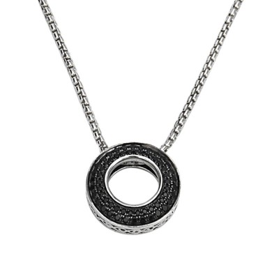 Sterling Silver Black Sapphire Circle Pendant