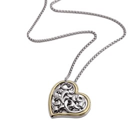 Sterling Silver Ivy Heart Pendant