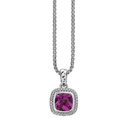 Sterling Silver Ivy Pink Topaz and Diamond Cushion Pendant