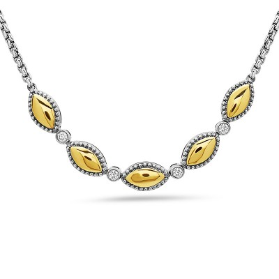 Sterling Silver Firefly Diamond 5 Section Necklace