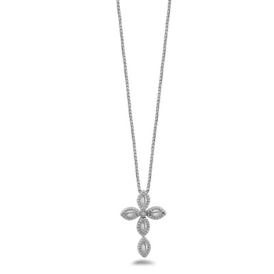 Sterling Silver Firefely Diamond Bead Cross Necklace