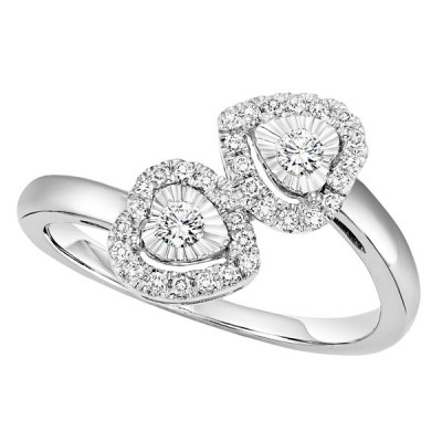 Ladies Sterling Silver Two Heart Ring