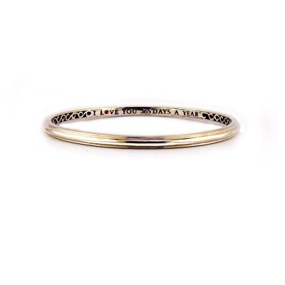 "Sterling Silver Smooth ""I Love You 365 Days a Year"" Bangle"