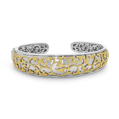 Sterling Silver Ivy Lace Saddle Cuff