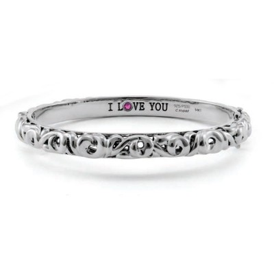 "Sterling Silver Ivy ""I Love You"" Cuff"
