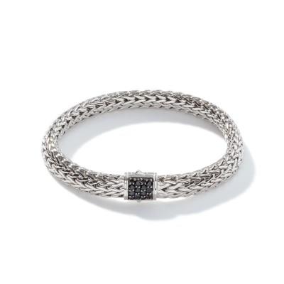 Classic Chain Medium Bracelet with Black Sapphire