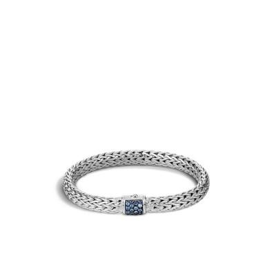 Classic Chain Medium Bracelet with Blue Sapphire