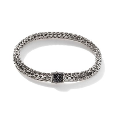 Classic Chain Small Bracelet with Black Sapphire