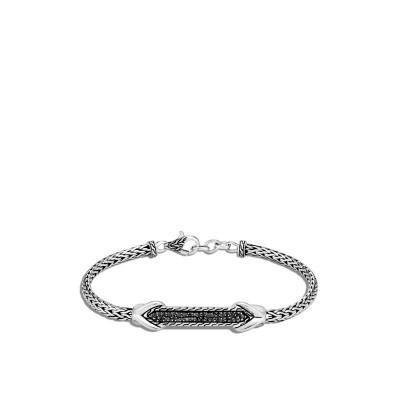 Asli Link Station ID Bracelet with Black Sapphire & Black Spinel