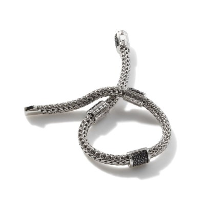 Classic Chain Four Station Bracelet with Black Sapphire