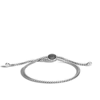 Classic Chain Pull Through Bracelet with Black Sapphire and Black Spinel