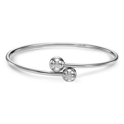 Sterling Silver BANGLE W & BALLS Bracelet