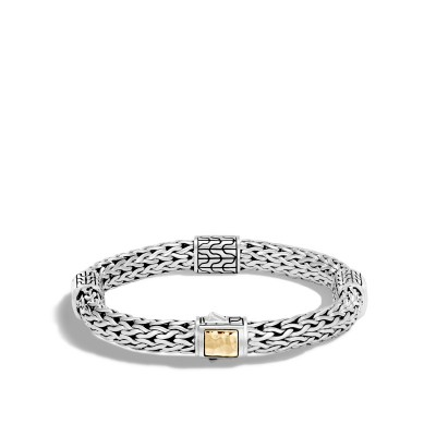 Classic Chain Hammered Two-Tone Four Station Bracelet