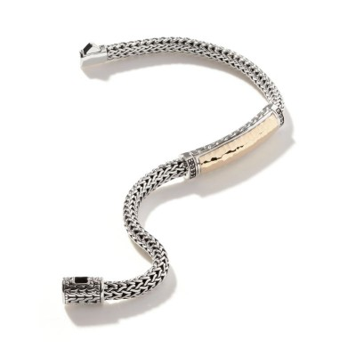 Classic Chain Hammered Two-Tone Station Bracelet with Black Sapphire