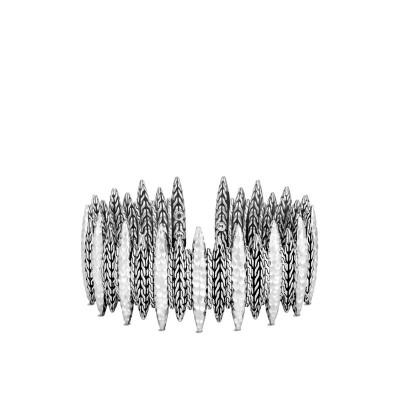 Classic Chain Hammered Spear Flex Cuff Bracelet