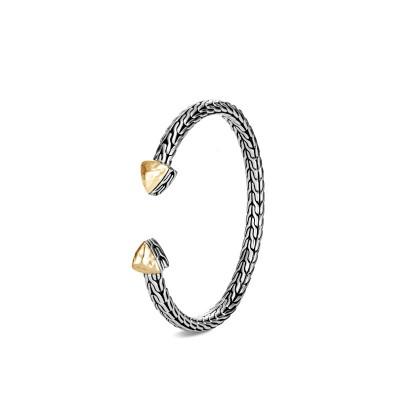 Classic Chain Hammered Two-Tone Flex Cuff Bracelet