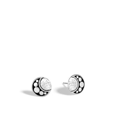 Dot Moon Phase Hammered Stud Earrings