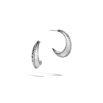 Dot Hammered J Hoop Earrings