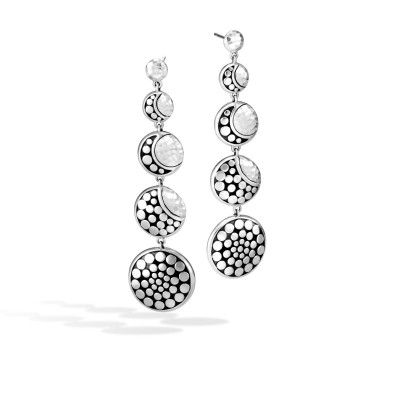 Dot Moon Phase Hammered Drop Earrings