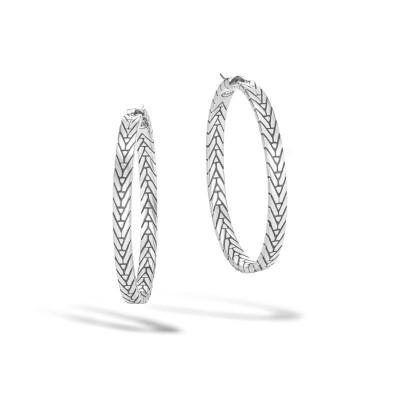 Modern Chain Medium Hoop Earrings