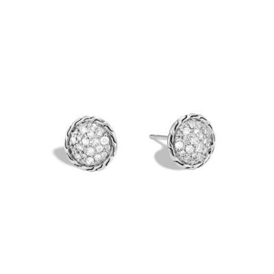 Classic Chain Diamond Pave Round Stud Earrings
