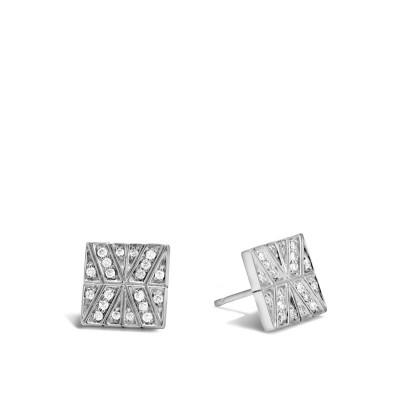 Modern Chain Diamond Square Stud Earrings