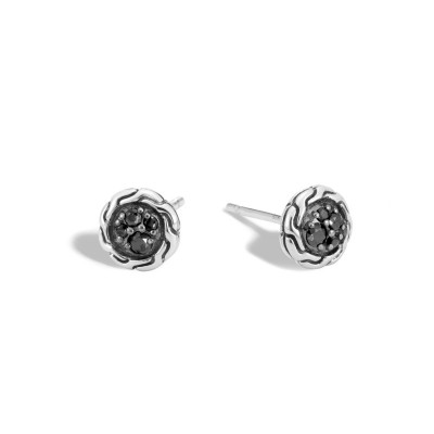 Classic Chain Black Sapphire & Black Spinel Round Stud Earrings