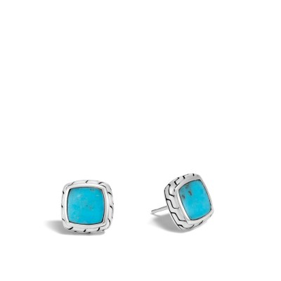 Classic Chain Turquoise Square Stud Earrings