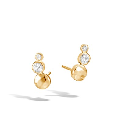 Dot Hammered Stud Earrings with Diamonds