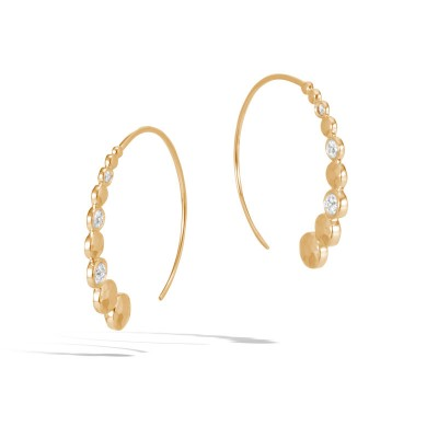 Dot Hammered Drop Earrings with Diamonds