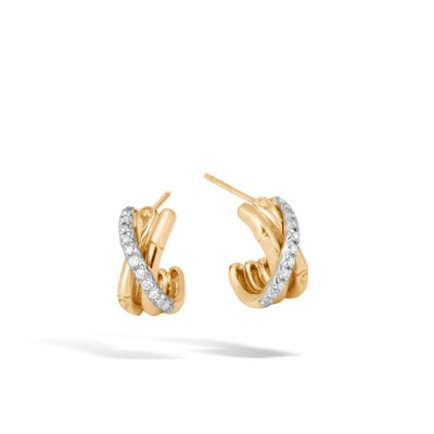 Bamboo Diamond Pave J-Hoop Earrings