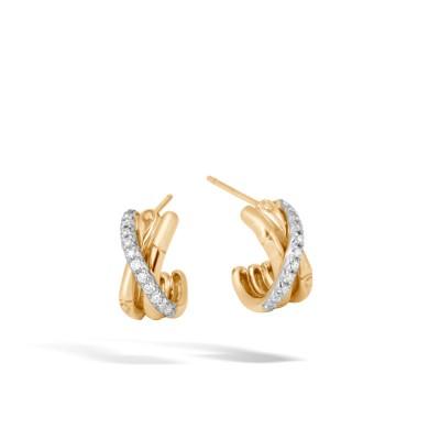 Bamboo Diamond Pave J-Hoop Earrings