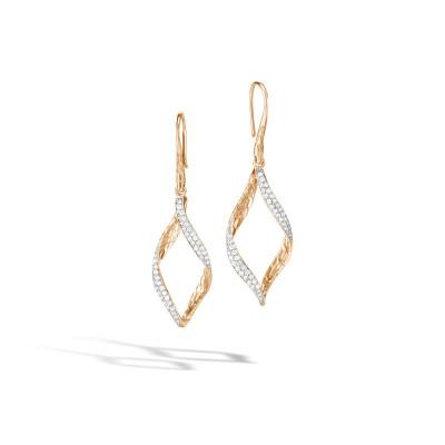 Classic Chain Wave Drop Earrings with Diamond