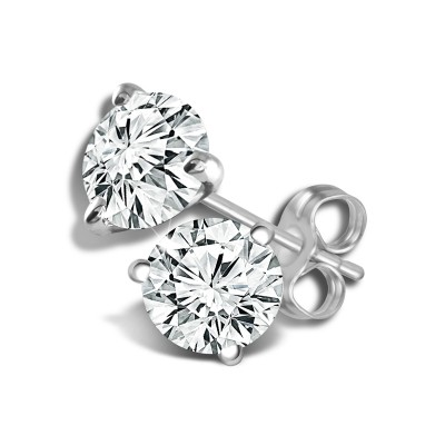 14K White Gold 1 Ct Earring Stud