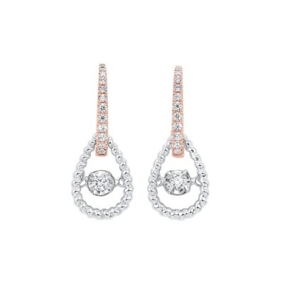 Diamond Door Knocker Drop Earrings in 14k Two-Tone Gold (1/4ctw)