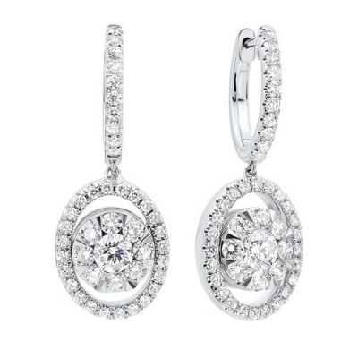 Diamond Drop Round Earrings in 14K White Gold (1/2 ct. tw.)