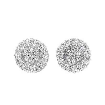 Diamond Circle Halo Cluster Earrings in Sterling Silver