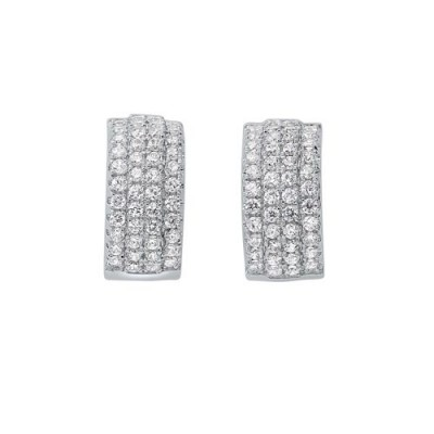Diamond Triple Row Huggie Hoop Earrings in Sterling Silver