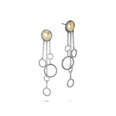 Classic Chain Hammered Two-Tone Chandelier Earrings