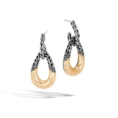 Classic Chain Hammered Two-Tone Hoop Earrings