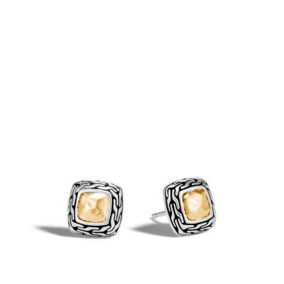 Classic Chain Hammered Heritage Two-Tone Stud Earrings