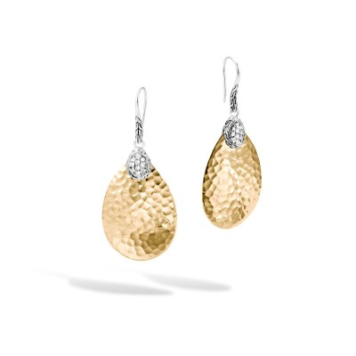 Classic Chain Hammered Two-Tone Drop Earrings with Diamond