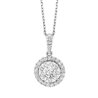 Round Cluster HALO Diamond Necklace