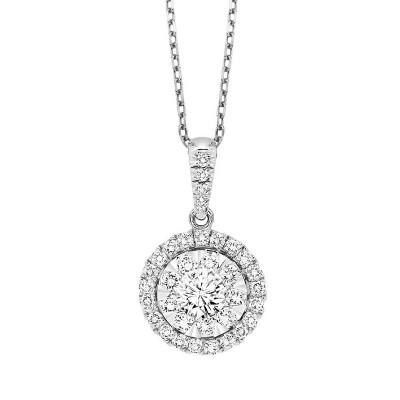 Round Cluster HALO Diamond Necklace