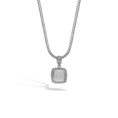 Classic Chain Diamond Pave Medium Square Pendant