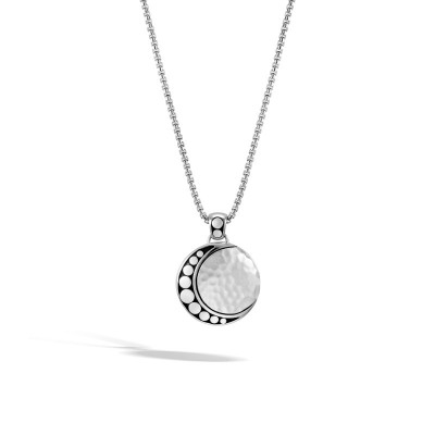 Dot Hammered Moon Phase Pendant with Chain