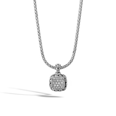 Classic Chain Diamon Pave Square Pendant with Chain