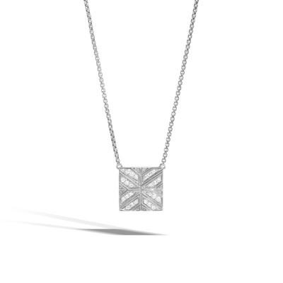 Modern Chain Diamond Square Pendant with Chain